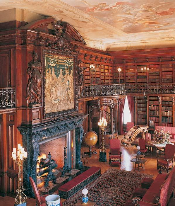 My favorite room - the library. For a sense of scale, the fireplace is so big I could stand in it without hitting my head.